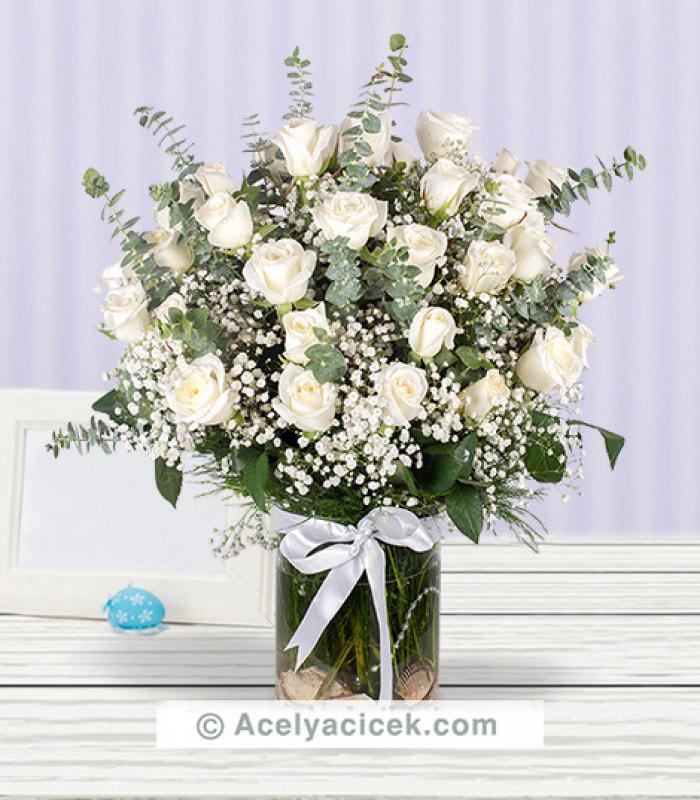 Doğal Sevgi 50 Beyaz Gül