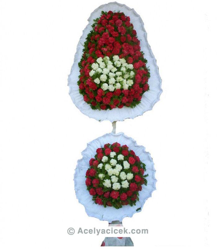 Çift Göbekli Kırmızı Beyaz Ayaklı Sepet