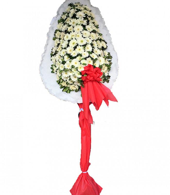 Beyaz Gerberalı Ayaklı Sepet