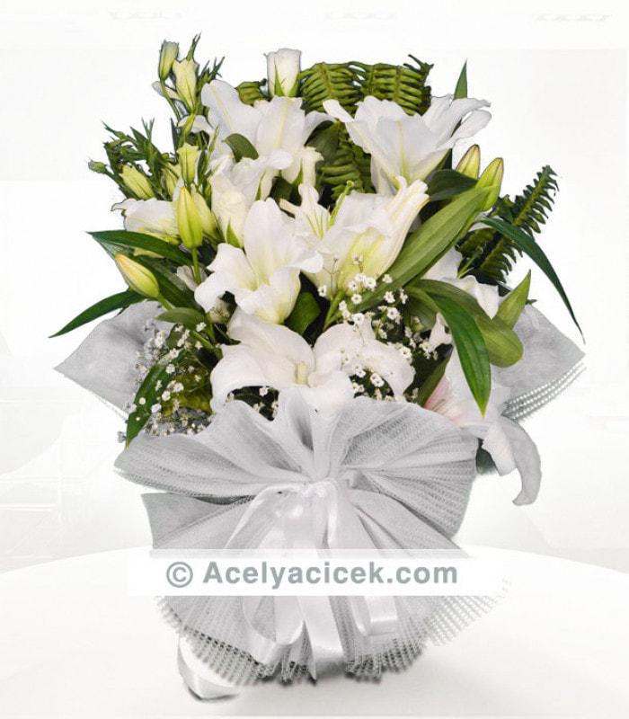 Kokulu Beyaz Lilyum Buketi