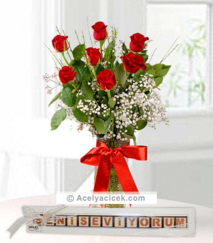 Seni Seviyorum Çikolata Kırmızı Güller